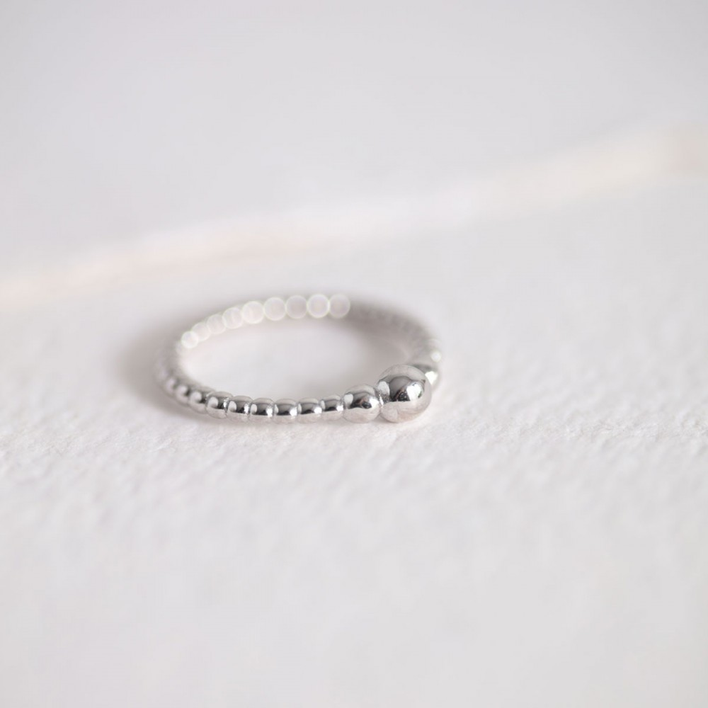 MUSA PURE - Silver polished spheres ring