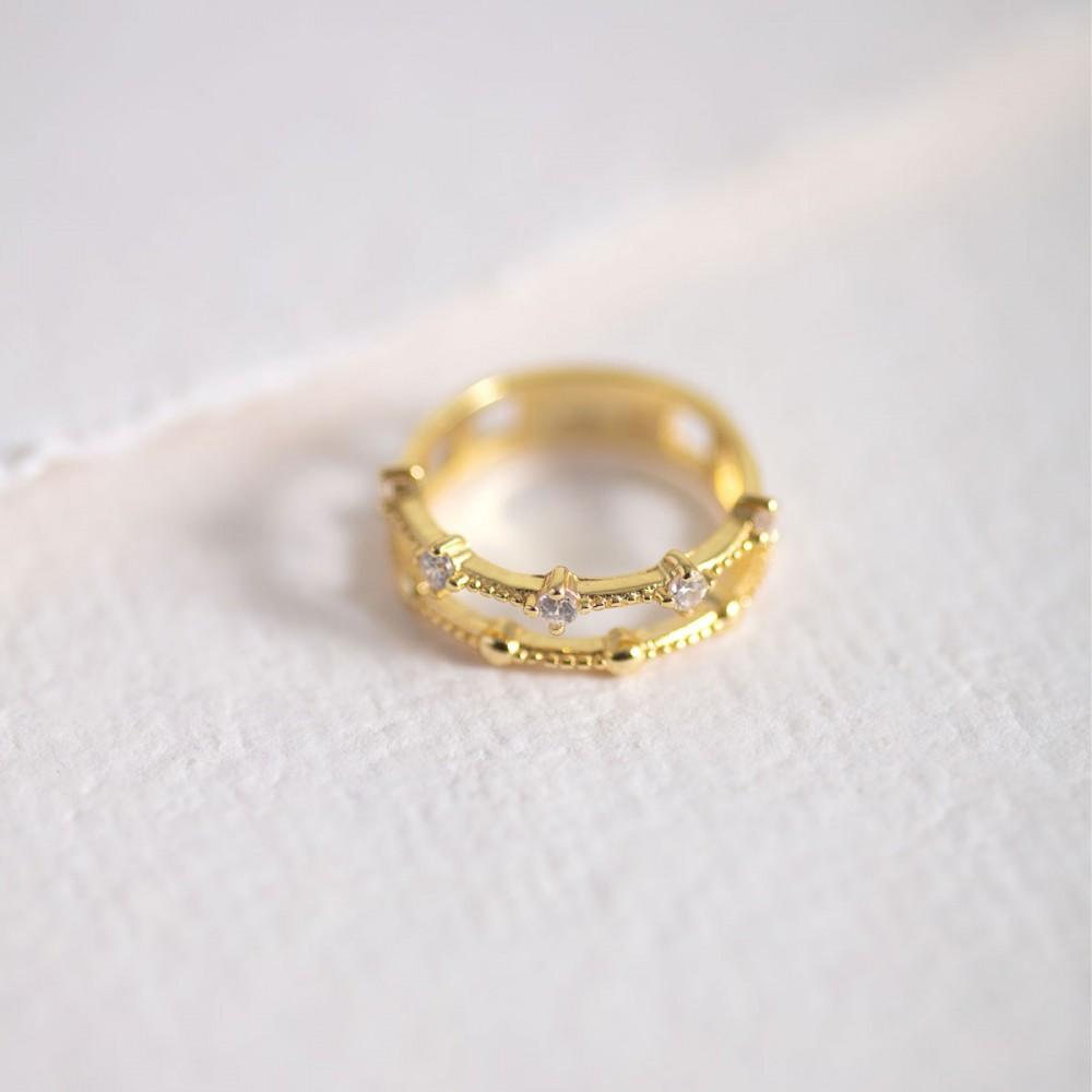 TIARA - Gold ring double zirconia...