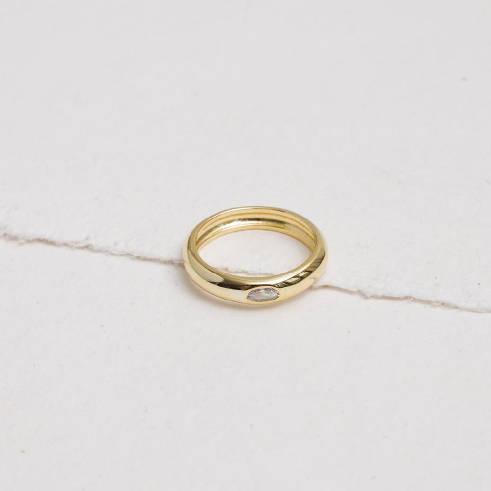 LUCE - Golden polished ring white...