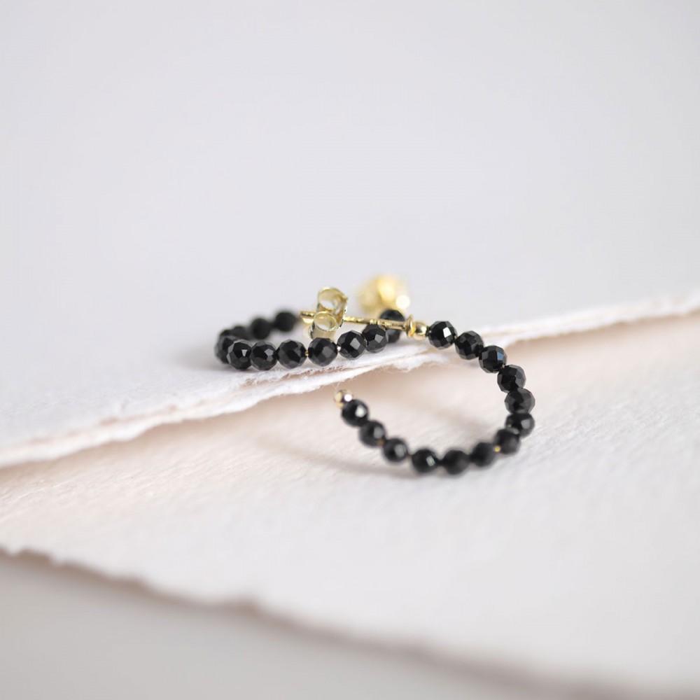 PANTERA - Ring golden earring onyx