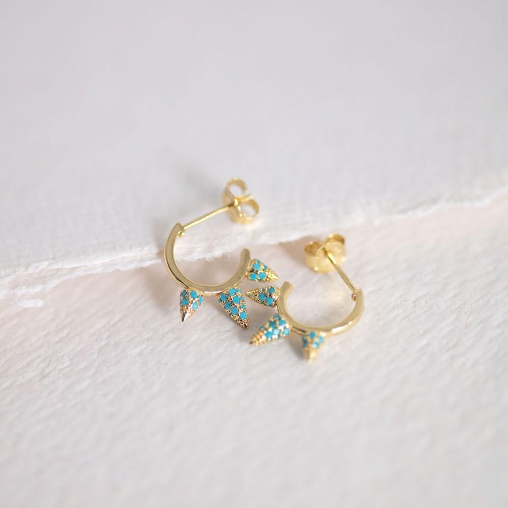 DONA - Golden Triple Claw Earring...