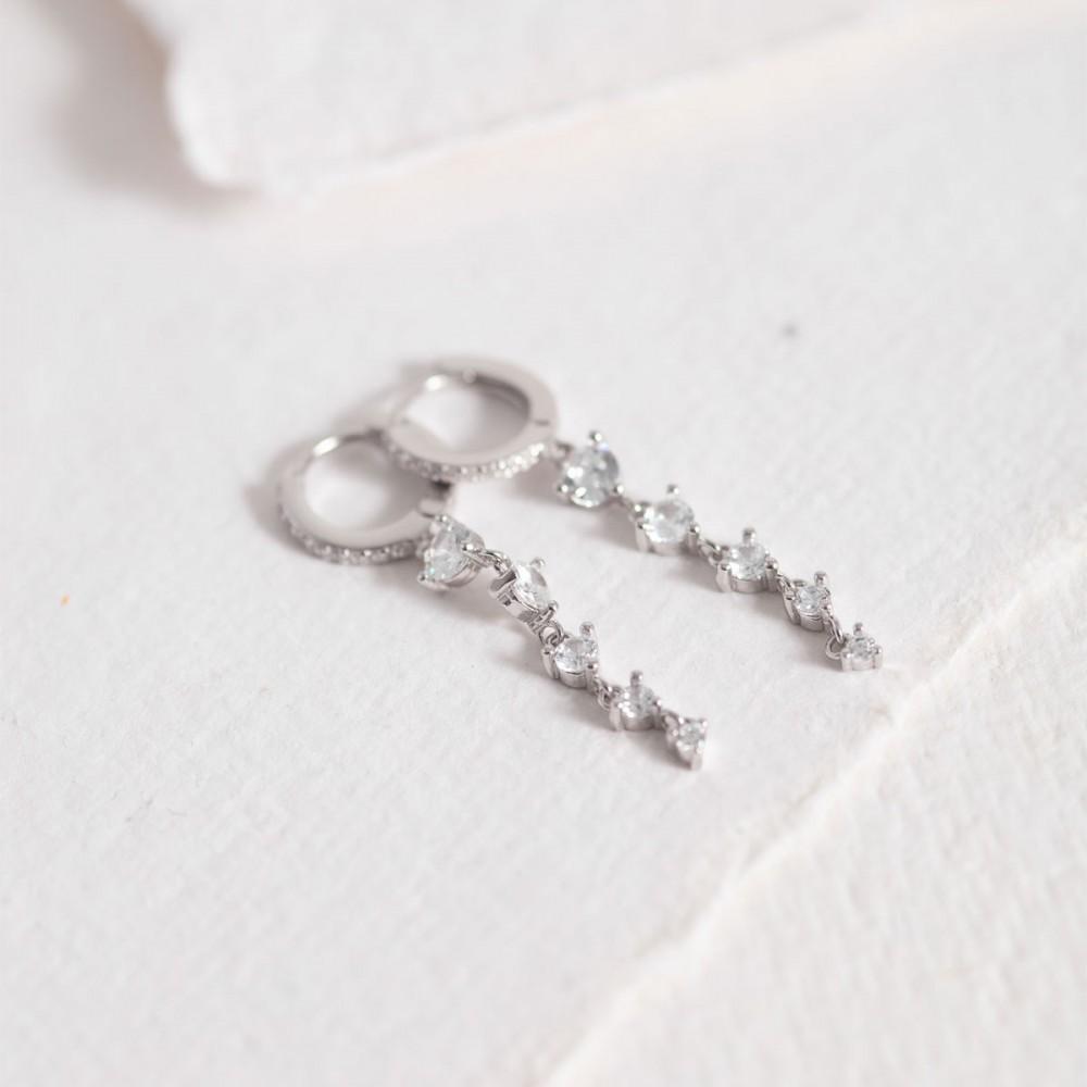 BAGLIORE - Silver white stones long...