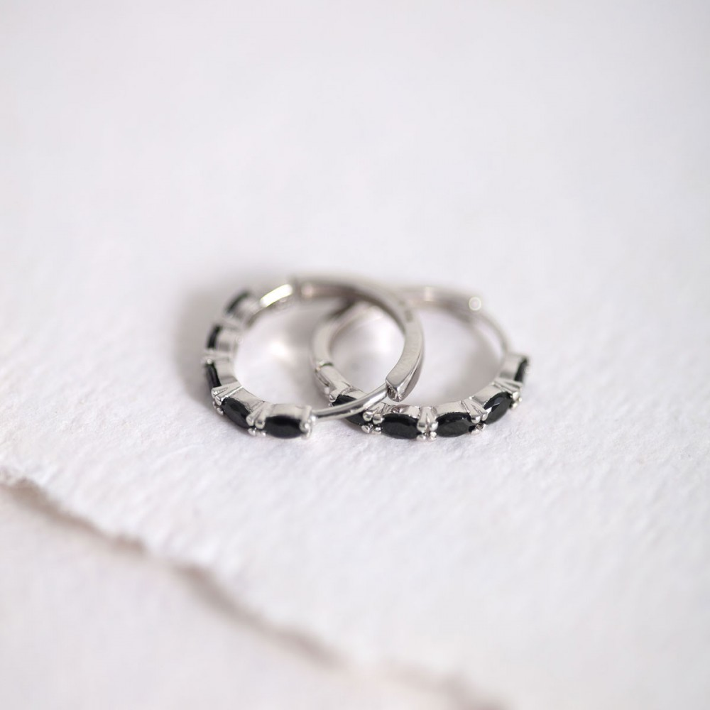 ECLISSE BLACK - Ring earring oval...